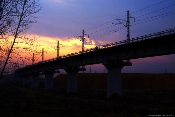 夕阳下的合武高速铁路桥 2010,02,23-城市风景篇-zol