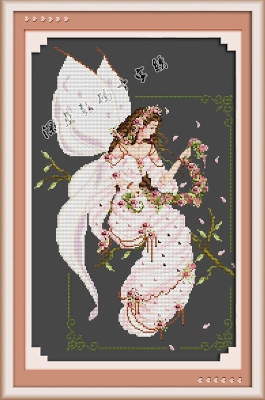 蝴蝶十字绣图|蝴蝶仙子十字绣|十字绣蝴蝶图案